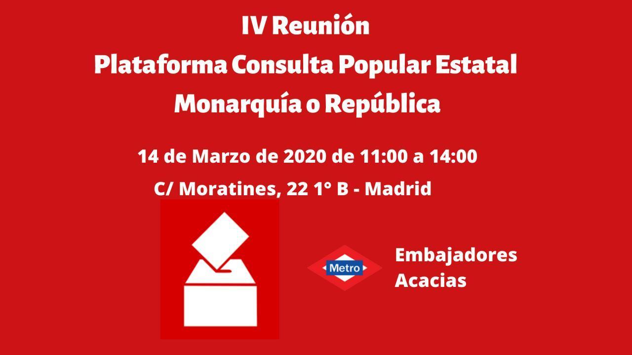 IV Reunión Plataforma Estatal Consulta Popular Monarquía o República